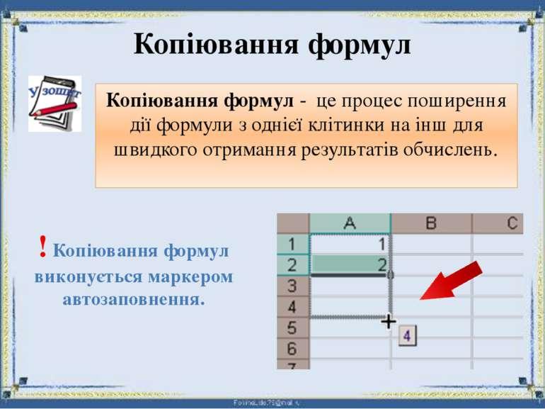 Копіювання формул Копіювання формул - це процес поширення дії формули з одніє...