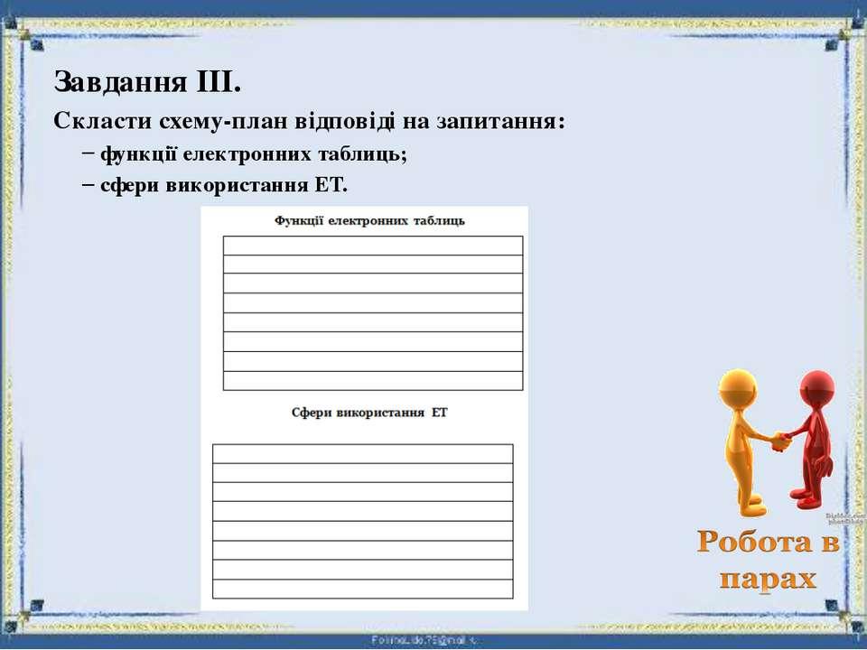 Завдання ІІІ. Скласти схему-план відповіді на запитання: функції електронних ...