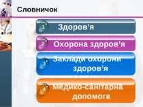 Словничок Здоров'я Охорона здоров'я Заклади охорони здоров'я Медико-санітарна...