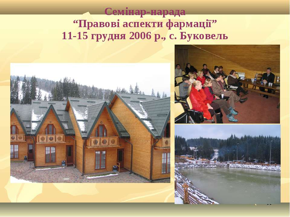 """* Семінар-нарада """"Правові аспекти фармації"""" 11-15 грудня 2006 р., с. Буковель"""