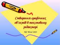 Створення графічних об'єктів в текстовому редакторі MS Word 2003