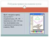 Щоб створити пряму під кутом 0 (горизонталь), 45 , 90 (вертикаль), або 135 пі...