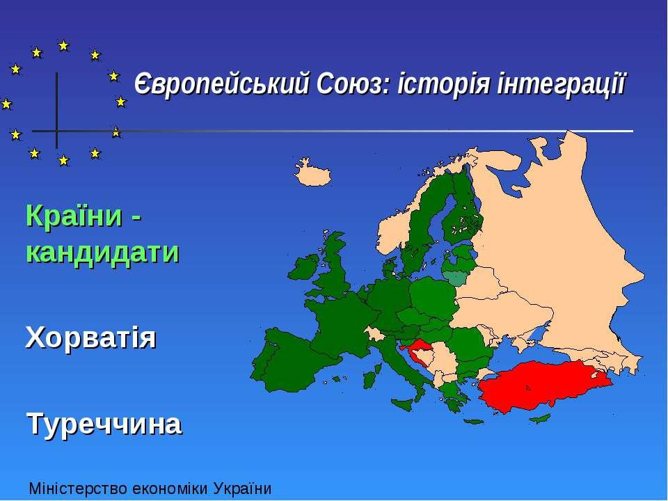 Європейський Союз: історія інтеграції Країни - кандидати Хорватія Туреччина М...
