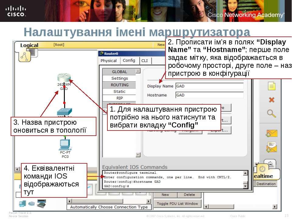 Налаштування імені маршрутизатора Packet Tracer 4.1: Novice Session * © 2007 ...
