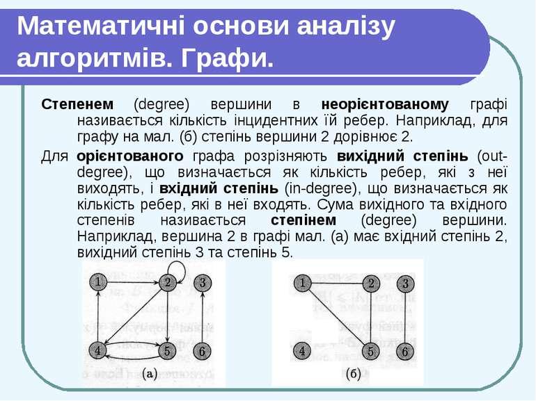 Математичні основи аналізу алгоритмів. Графи. Степенем (degree) вершини в нео...