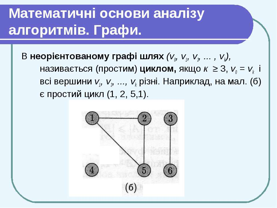 Математичні основи аналізу алгоритмів. Графи. В неорієнтованому графі шлях (v...