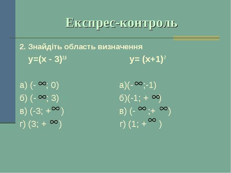 Експрес-контроль 2. Знайдіть область визначення у=(х - 3)2,6 у= (х+1)-7 а) (-...