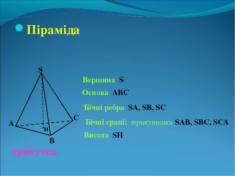 Піраміда S А В С Вершина S Основа АВС трикутна Бічні ребра SA, SB, SC Бічні г...