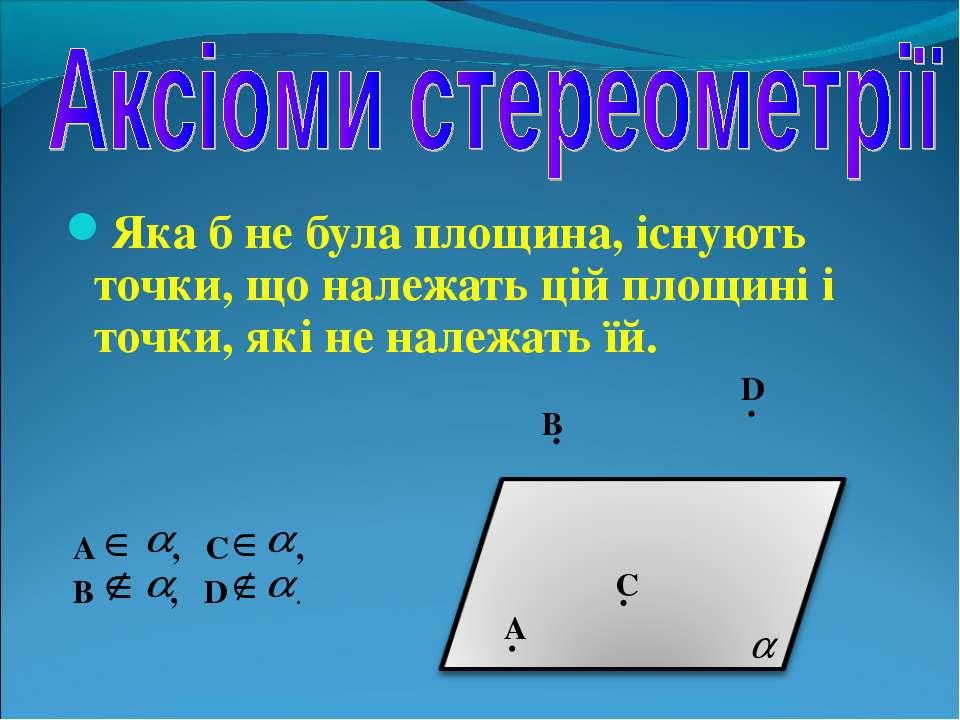 Яка б не була площина, існують точки, що належать цій площині і точки, які не...