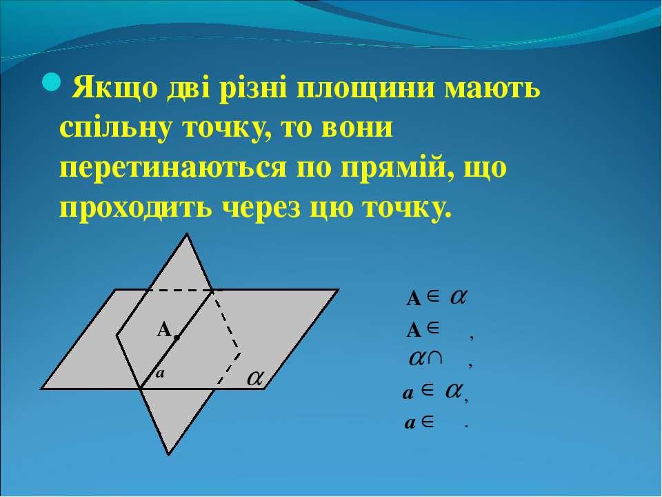 Якщо дві різні площини мають спільну точку, то вони перетинаються по прямій, ...