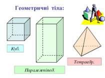 Геометричні тіла: Куб. Паралелепіпед. Тетраєдр.