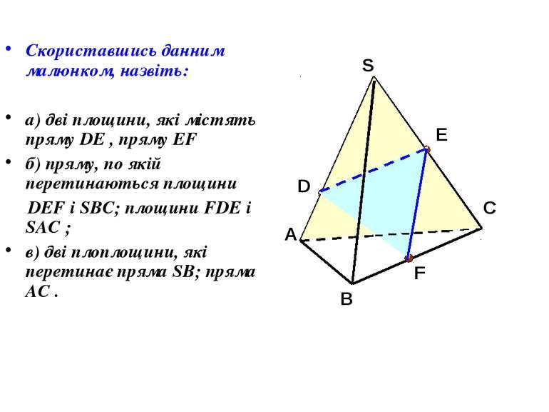 Скориставшись данним малюнком, назвіть: а) дві площини, які містять пряму DE ...