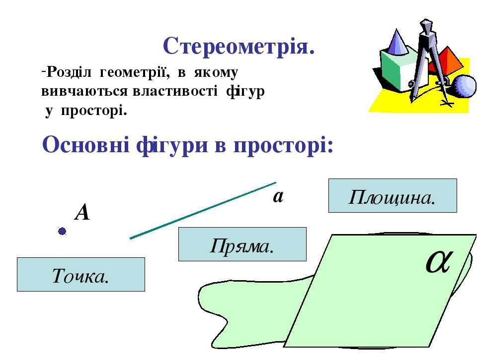 Стереометрія. Розділ геометрії, в якому вивчаються властивості фігур у просто...