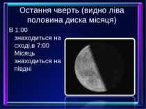Остання чверть (видно ліва половина диска місяця) В 1:00 знаходиться на сході...