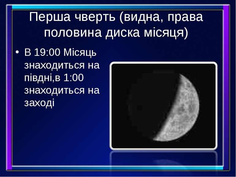 Перша чверть (видна, права половина диска місяця) В 19:00 Місяць знаходиться ...