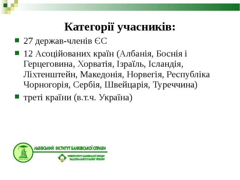 Категорії учасників: 27 держав-членів ЄС 12 Асоційованих країн (Албанія, Босн...