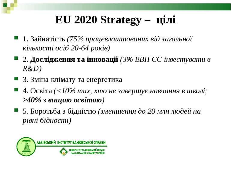 EU 2020 Strategy – цілі 1. Зайнятість (75% працевлаштованих від загальної кіл...