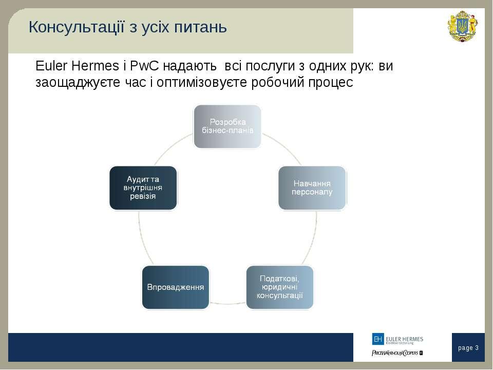 Консультації з усіх питань Euler Hermes і PwC надають всі послуги з одних рук...