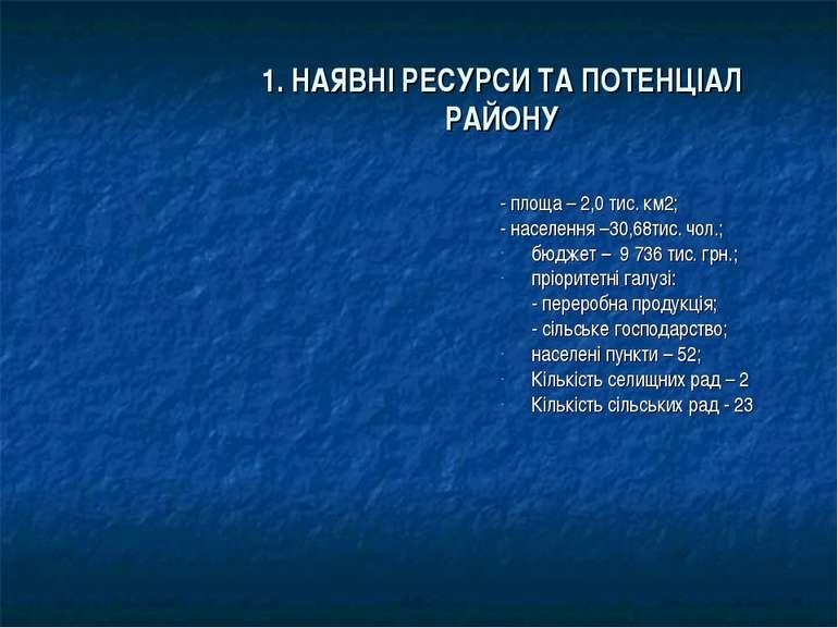 1. НАЯВНІ РЕСУРСИ ТА ПОТЕНЦІАЛ РАЙОНУ - площа – 2,0 тис. км2; - населення –30...