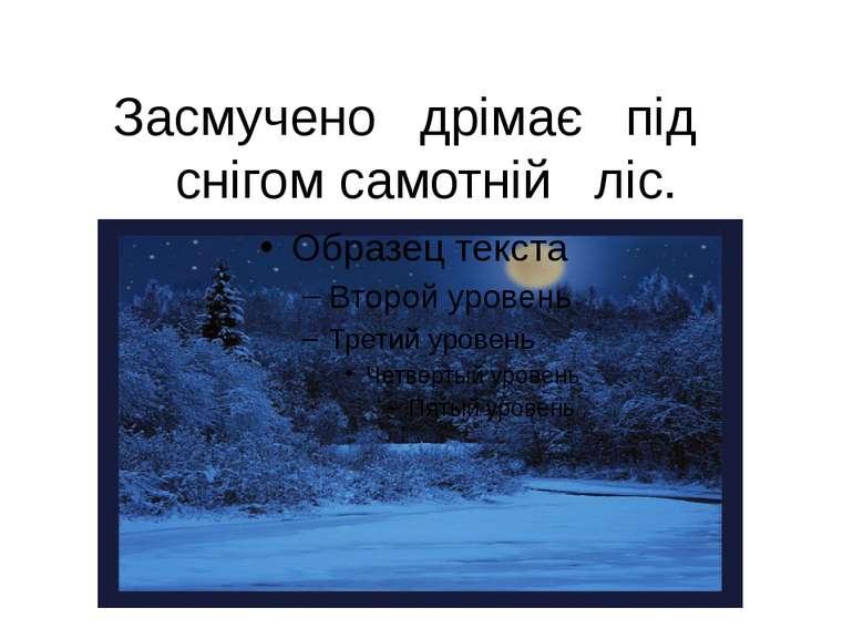 Засмучено дрімає під снігом самотній ліс.