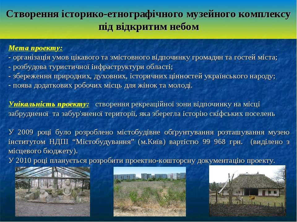 Створення історико-етнографічного музейного комплексу під відкритим небом Мет...