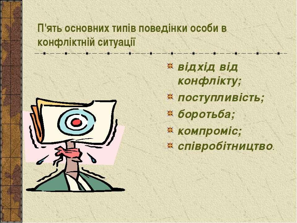 П'ять основних типів поведінки особи в конфліктній ситуації відхід від конфлі...