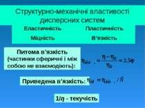 Структурно-механічні властивості дисперсних систем Питома в'язкість (частинки...