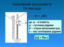 Капілярний віскозиметр Оствальда де η – в'язкість ρ – густина рідини К – стал...