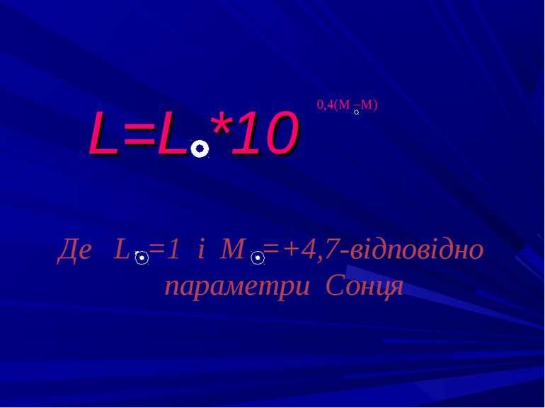 L=L *10 0,4(М –М) Де L =1 і М =+4,7-відповідно параметри Сонця