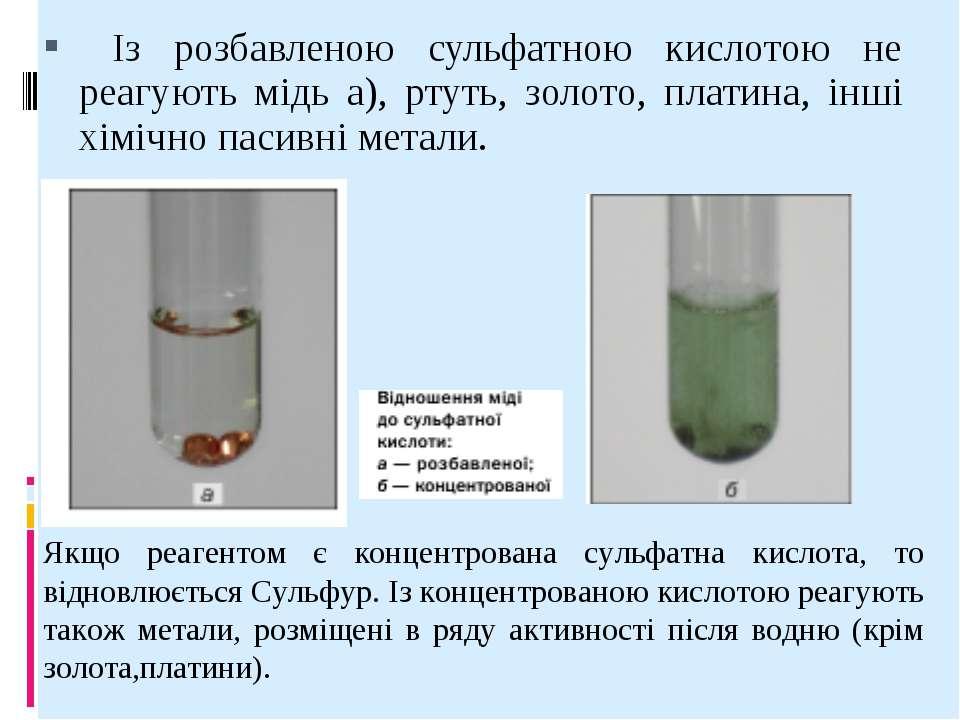 Із розбавленою сульфатною кислотою не реагують мідь а), ртуть, золото, платин...