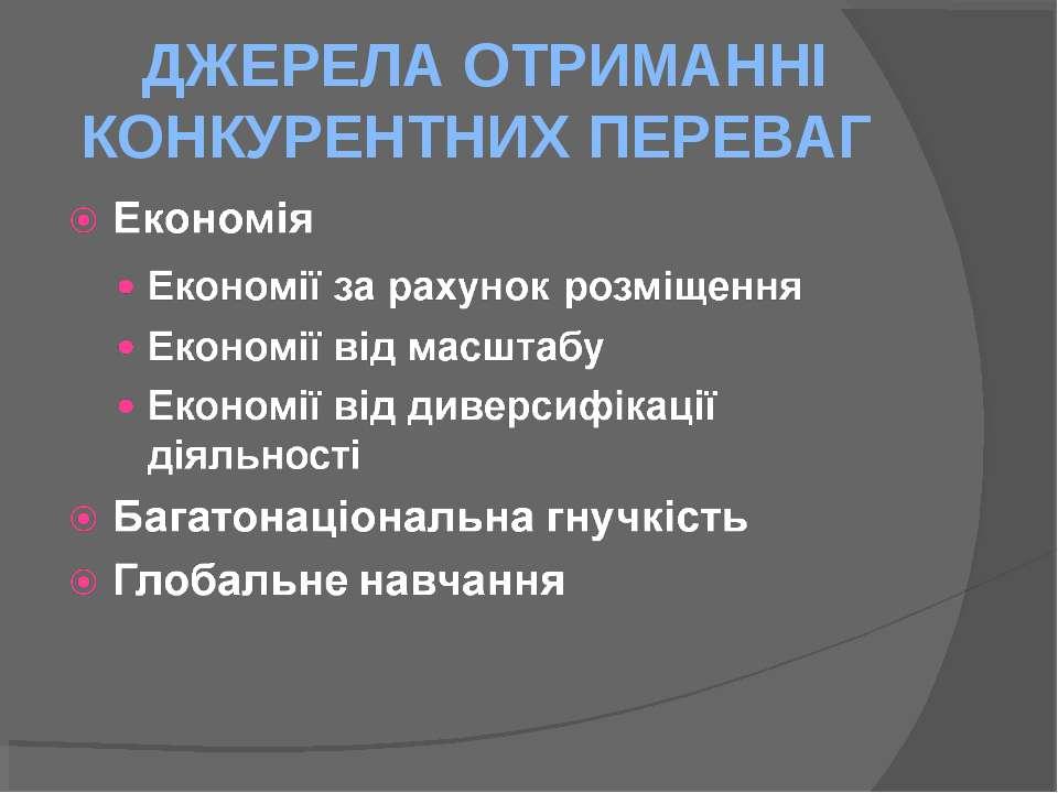 ДЖЕРЕЛА ОТРИМАННІ КОНКУРЕНТНИХ ПЕРЕВАГ