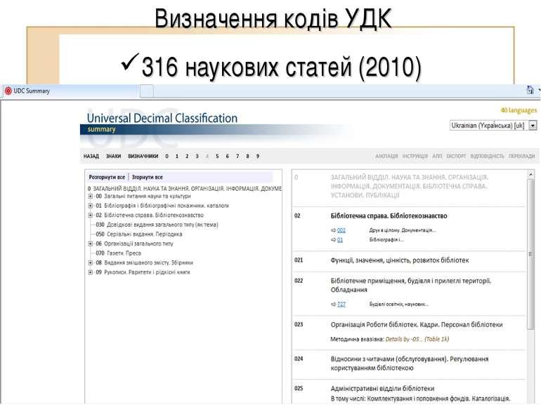 Визначення кодів УДК 316 наукових статей (2010)