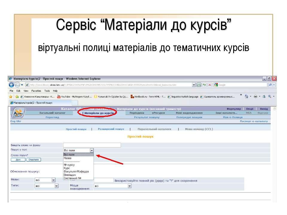 """Сервіс """"Матеріали до курсів"""" віртуальні полиці матеріалів до тематичних курсів"""