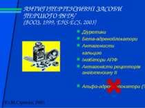АНТИГІПЕРТЕНЗИВНІ ЗАСОБИ ПЕРШОГО РЯДУ (ВООЗ, 1999, EHS-ECS, 2003) Діуретики Б...