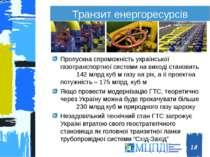 Транзит енергоресурсів Пропускна спроможність української газотранспортної си...