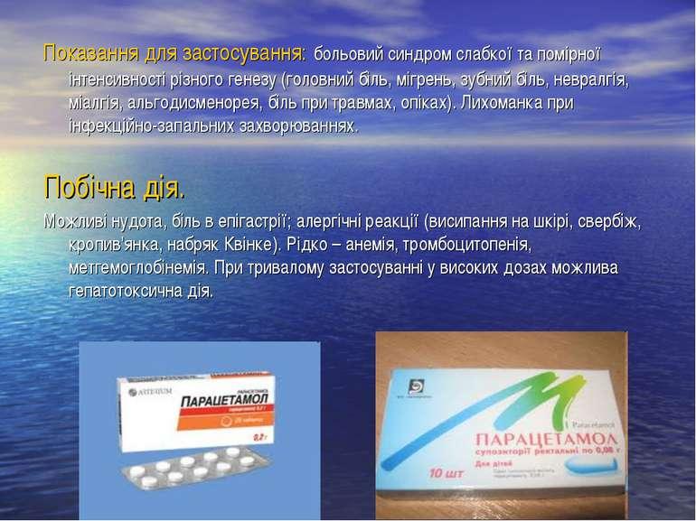 Показання для застосування: больовий синдром слабкої та помірної інтенсивност...