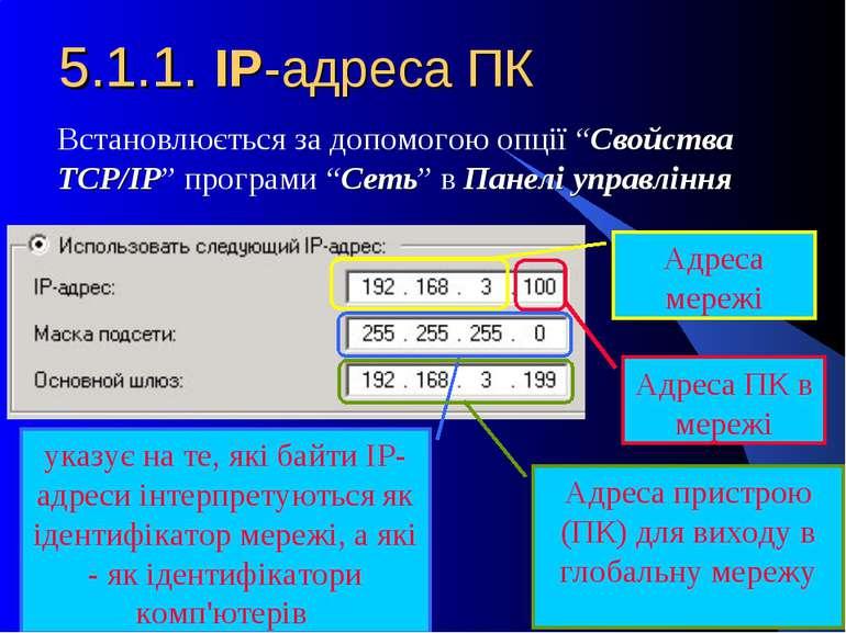 """5.1.1. IP-адреса ПК Встановлюється за допомогою опції """"Свойства TCP/IP"""" прогр..."""
