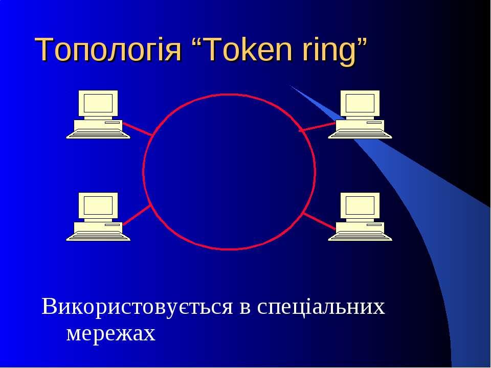 """Топологія """"Token ring"""" Використовується в спеціальних мережах"""
