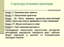 Структура Основних орієнтирів Розділ І. Пояснювальна записка Розділ ІІ. Визна...
