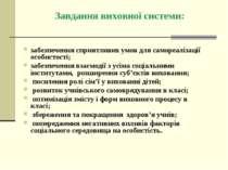 Завдання виховної системи: забезпечення сприятливих умов для самореалізації о...
