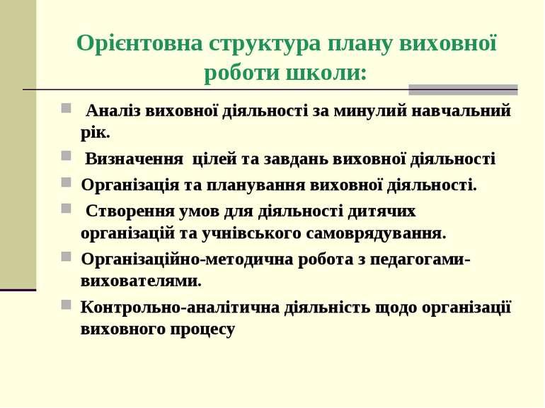 Орієнтовна структура плану виховної роботи школи: Аналіз виховної діяльності ...