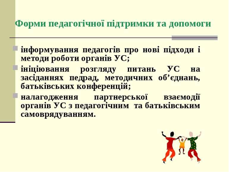 Форми педагогічної підтримки та допомоги інформування педагогів про нові підх...