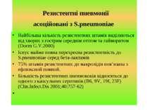 Резистентні пневмонії асоційовані з S.pneumoniae Найбільша кількість резистен...