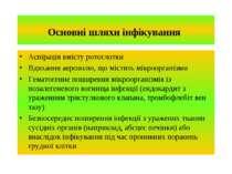 Основні шляхи інфікування Аспірація вмісту ротоглотки Вдихання аерозолю, що м...