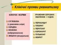 © Клінічні прояви ревматизму КЛІНІЧНІ ФОРМИ СУГЛОБОВА (з ураженням шкіри) СЕР...