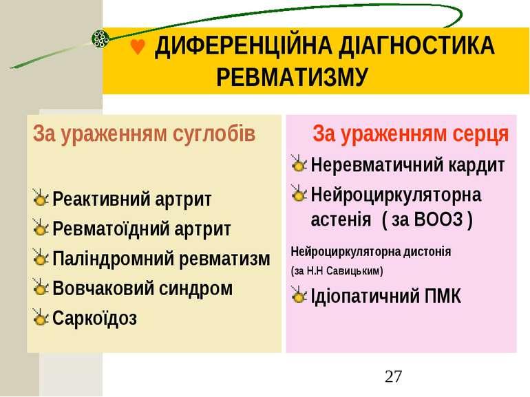 © ДИФЕРЕНЦІЙНА ДІАГНОСТИКА РЕВМАТИЗМУ За ураженням суглобів Реактивний артрит...