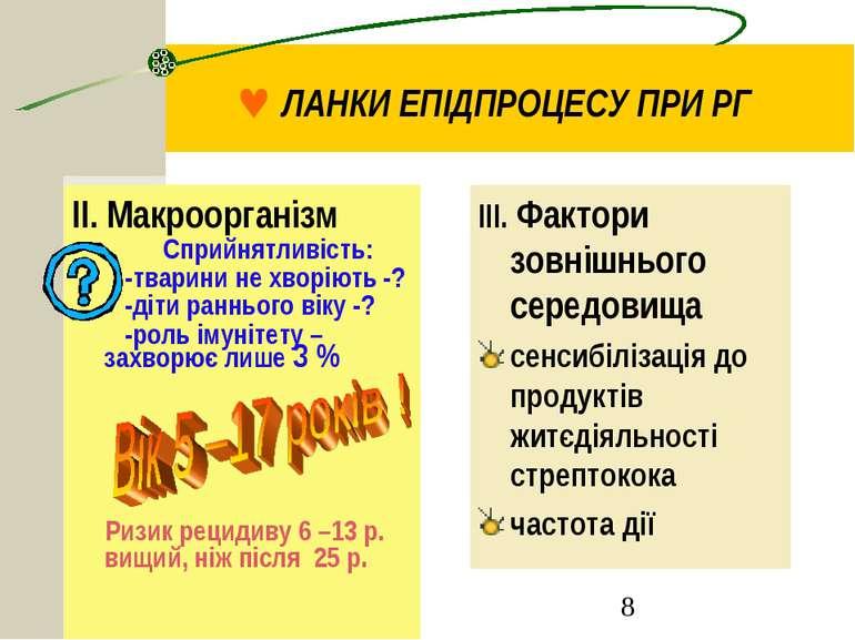 © ЛАНКИ ЕПІДПРОЦЕСУ ПРИ РГ ІІ. Макроорганізм Сприйнятливість: -тварини не хво...