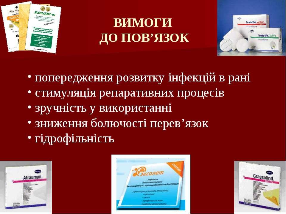 ВИМОГИ ДО ПОВ'ЯЗОК попередження розвитку інфекцій в рані стимуляція репаратив...