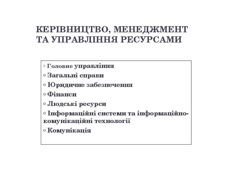 КЕРІВНИЦТВО, МЕНЕДЖМЕНТ ТА УПРАВЛІННЯ РЕСУРСАМИ Головне управління Загальні с...