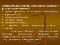 ПРОГНОЗОВАНОЮ СФЕРОЮ ПРОФЕСІЙНОЇ ДІЯЛЬНОСТІ фахівця з правознавства є: органи...